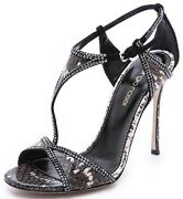 1650 New Sergio Rossi Exotic Snake Ker Sandals Crystal Embellishment Shoes 40