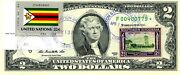 2 Dollars 2013 Star Stamp Cancel Flag Of Zimbabwe And Southern Rhodesia 450