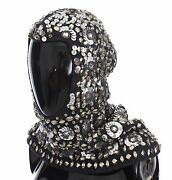 New 3000 Dolce And Gabbana Hood Scarf Hat Crystal Sequined Gray Knitted Wool