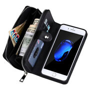 Removable Magnetic Leather Zipper Wallet Flip Card Case Cover For Iphone Samsung