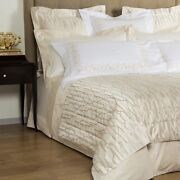 New Frette Airy 3 Pc Queen Duvet Cover + 2 Euro Shams Ivory Beige Floral