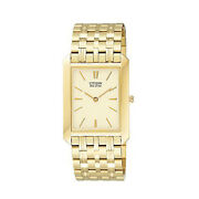 New Citizen Mens Gold Stainless Steel Eco-drive Watch Sapphire Crystal Glass