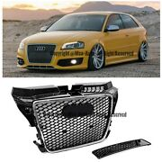For 09-13 Audi A3 S3 Rs3 Style Front Conversion Glossy Black Chrome Trim Grille