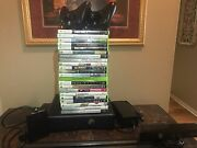 Xbox 360 Slim 320gb Hard Drive 2 Wireless Controllers Kinect And 22 Games