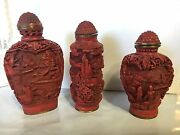 Rare Lot 3 Antique Carved Chinese Cinnabar Snuff Bottles Signed Red Lacquer Excd