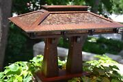 Mission Arts And Crafts Style Quarter Sawn Oak Double Pedestal Table Lamp Mica