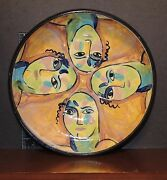 "Bowl Greek or Mediterranean image art style Hand Made Pottery 11.5"" diameter 96"