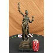 Bronze Sculpture Statue Signed Snake Charmer Marble Deco Figurine Figure Bc