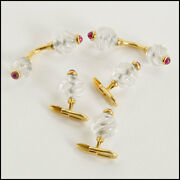 Rdc8297 Carved Rock Crystal/ruby Cabochon/18k Gold Cufflinks And Buttons Dress Set
