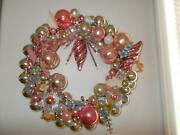 Ooak Pink And Silver Mercury Glass Christmas Ornament Wreath Vintage Angels Bell