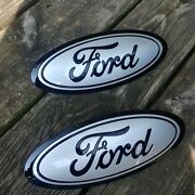2015-17 Ford F150 Grill And Tailgate Emblem 2 Custom Ingot Silver And Gloss Black