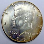 1967 Gem Bu Kennedy Half With Face Profile Strongly Doubled Free Shipping