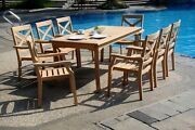 9-piece Outdoor Teak Dining Set 83 Rectangle Table 8 Stacking Arm Chairs Grand