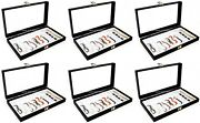 Wholesale Lot Of 6 Glass Top Lid White 10 Slot Jewelry Organizer Display Cases