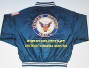 Uss West Virginia Ssbn-736 Navy Anchor Embroidered 2-sided Satin Jacket