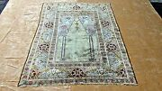 Semi Antique Islamic Silk Prayer Rug With Green And Ivory Field 6' X 4'