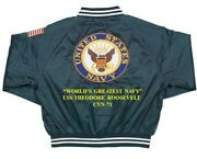 Uss Theodore Roosevelt Cvn-71 Navy Anchor Embroidered 2-sided Satin Jacket