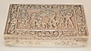Antique 800 Silver 2 7/8 Snuff Box Repoussandeacute Cherubs And Sheep And Roses 73.6 Grams