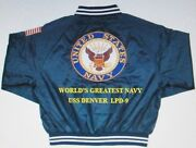 Uss Denver Lpd-9 Navy Anchor Embroidered 2-sided Satin Jacket