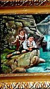 Antique Italian Oil On Board Painting Of Boy And Girl Fishingdouble Gilt Frame