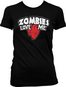 Zombies Love Me -heart - Walkers Undead Funny Juniors T-shirt