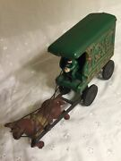 Vintage Us Mail Horse Drawn Wagon Cast Iron Toy Green And Black