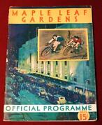 Rare 1934 Maple Leaf Gardens Bicycle Racing Sporting Event Program Torchy Peden