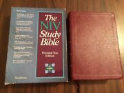 Niv 1984 Study Bible Personal Size - Burgundy Bonded Leather - Oop 84