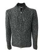 Mens Cardigan With Zip Panicale Blue/ice 100 Cashmere Made In Italy