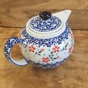 Polish Pottery Teapot ~ Small (4 cups) - Red Posies
