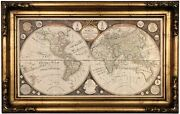 1799 Map Of The World With The Solar System Wood Framed Canvas Print Repro 12x22