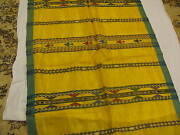 Vintage Silk Ikat Textile Tapestry Shawl 36 X 180 Handmade Excellent Yellow