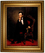 Healy Portrait Of Abraham Lincoln 1869 Framed Canvas Print Repro 16x20
