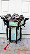 Antique Chinese Carved Rosewood Dragon Reverse Glass Painted Panels Lantern,lamp
