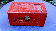 Antique 18c Chinese Large Wood Carved Red Lacquer3ed Cinnabar Hinged Box 12l