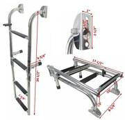 Pactrade Marine Boat Foldable S.s 4 Steps Ladders Stern Mount With Rubber Grips