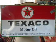 Vintage Texaco Motor Oil Porcelain Sign 37 X 22 Inches