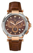 Guess Gc X66002g4s Gc-4 Executive Watch Rose Gold Stainless Steel Case, Leather