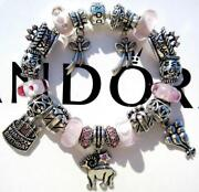 Authentic Pandora Silver Charm Bracelet With Charms Birthday Wish Ee25