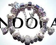 Authentic Pandora Silver Charm Bracelet With Charms Sparkling Stream Ee46