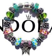 Authentic Pandora Silver Charm Bracelet With Charms Flower Garden Ee78