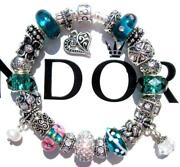 Authentic Pandora Silver Charm Bracelet With Charms Teal Treasure Ee64