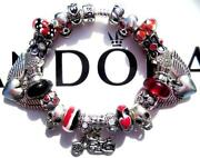 Authentic Pandora Silver Charm Bracelet With Charms Biker Babe Ee82