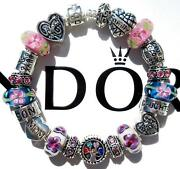 Authentic Pandora Silver Charm Bracelet With Charms A Mom's Love Ee72