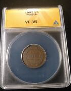 Rare Date Russia Empire Ae 1902 1 Kopek Graded By Anacs As A Vf-35 Y-9.2