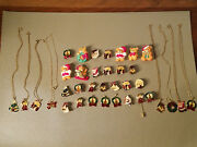 Vintage Lot Of 36 Pieces Of Various Christmas Fashion Costume Jewelry Nwot