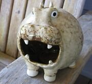 Quirky Art Pottery Hippo Character Sculpture Candle Holder