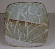 Randy Johnston Stamped Pottery Studio handmade grey square plate grass design