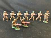 Lot Of 9 Old Vtg Lead Military Solider Toy Train Garden Figure Military