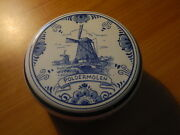 Delft Blue Circle Trinket Jewelry Box Different Windmill Types Names In Holland